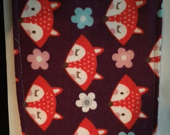 Cloth wipes for baby. Foxes and flowers.