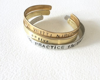 Yoga Citta Vritti Nirodhah Yoga Cuff. Metal Stamped in Aluminum, Copper or Brass. Gift For Yogis.