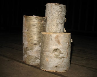 3 Birch Candles,  Rustic Candles, Wedding Centerpieces, Rustic Decor