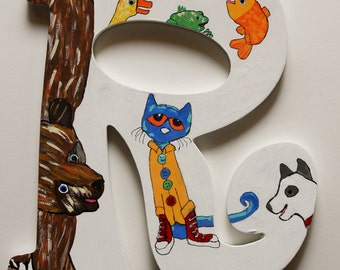 Book Letters -- Custom Hand Painted Wooden Letters with Storybook Characters -- Price Per Letter -- Free Shipping