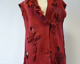 Special price.  Artsy felted burgundy wine vest, L size. Only one sample, handmade.