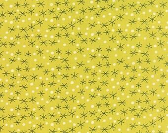 Tiki Tok Fabric, Stars in Mustard Yellow.  Mid Century Modern Fabric for Moda by Jenn Ski.