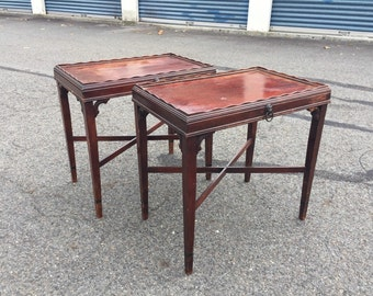 Pair of Vintage End Tables with Lion hardware