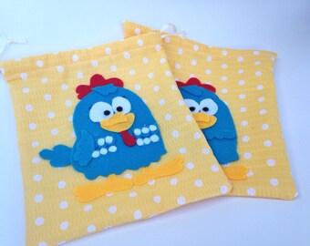 Set of 5 Bags - Lottie Dottie Chicken ( Galinha Pintadinha) Party Favor Bags, Birthday Favor, Gift or Treat Bag