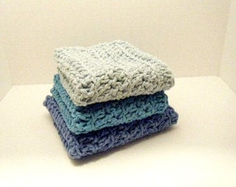 Washcloths - Blue - Boys washcloths - Cotton dishcloths - Baby cloths - Toddler washcloth - Baby Shower Gift