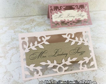 Wedding Laser Cut Place Card- Leaves and Vines Style