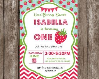 Strawberry Invitation, Strawberry Birthday Party, Summer Invitation, Strawberries, Chevron, Printable