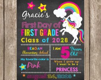 First Day of School Sign Rainbow ANY GRADE , Back to School Sign Chalkboard,Photo Prop Digital Printable