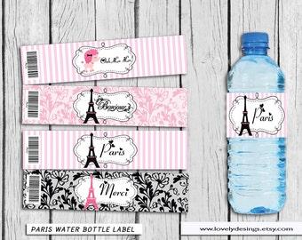 Paris Water Bottle Label, Eiffel Paris party supplies, Paris Birthday, ParisParty  Decoration Instant Download