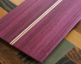 Purpleheart, Walnut & Maple Wood Cutting Board, or serving board, in a Striped Pattern