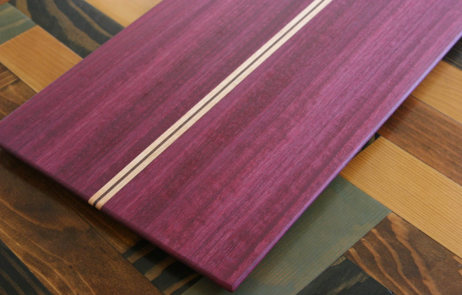 Purpleheart Walnut Maple Wood Cutting Board Or Serving