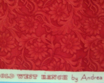 Andrea Fehr. Andrea Fehr Old West Ranch.  Andrea Fehr design for  Moda Fabrics.  Red flowers.   Sold in 1/2 yard units.