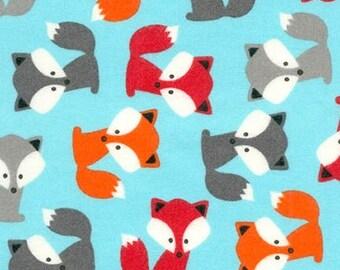 FLANNEL Ann Kelle Urban Zoologie Foxes Aqua Flannel (Half metre)