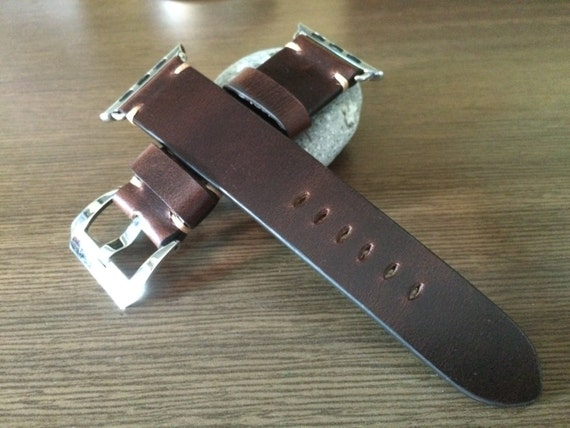 Apple Watch Band | Apple Watch Strap | Vintage Leather Watch Band | Pure Brown Leather Watch Strap For Apple Watch 38mm & Apple Watch 42mm
