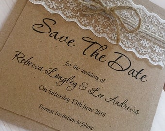 1 vintage/shabby chic 'Rebecca' Wedding save the date card with lace/twine
