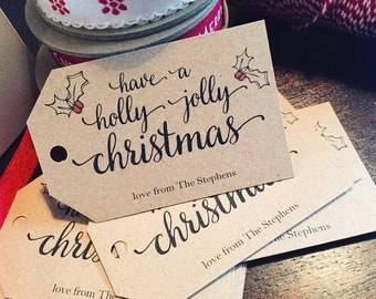 20 x Personalised Rustic/Vintage/Shabby Chic Holly Jolly Christmas Tags - ivory or kraft brown