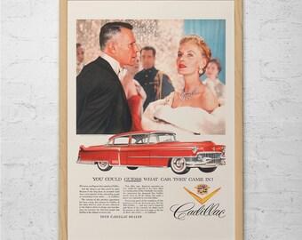 CADILLAC CAR AD - Vintage Cadillac Ad - Retro Car Poster, Classic Car Poster, 1950's Cadillac Poster, Luxury Car Ad, Retro Car Wall Art