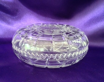 Cut Crystal Trinket Box Italy, Round with Domed Lid