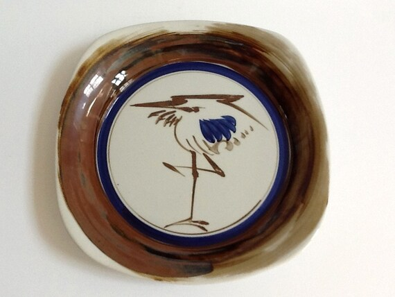 Dansk Serving Platter Crane Or Egret Made In Japan Brown