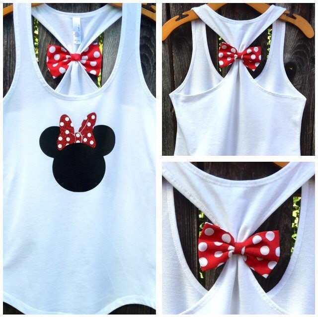 Minnie Mouse Inspired Bow Back Tank Top Woman 39 S By 31blossoms
