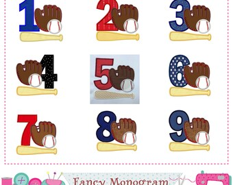 Baseball Numbers applique,Baseball  Numbers design,Baseball applique,Birthday Numbers design,Baseball,Sports applique.-01