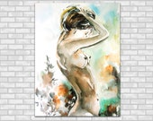 Nude Woman Figure Watercolor Painting Art Print, Figurative Watercolour Modern Art