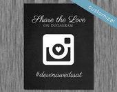 Printable Hashtag Wedding Sign, Printable Sign for Wedding Hashtag, Printable Wedding Sign for Social Media, Chalkboard Wedding Sign