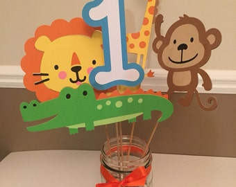 Safari themed centerpiece, safari birthday, jungle birthday party decorations!