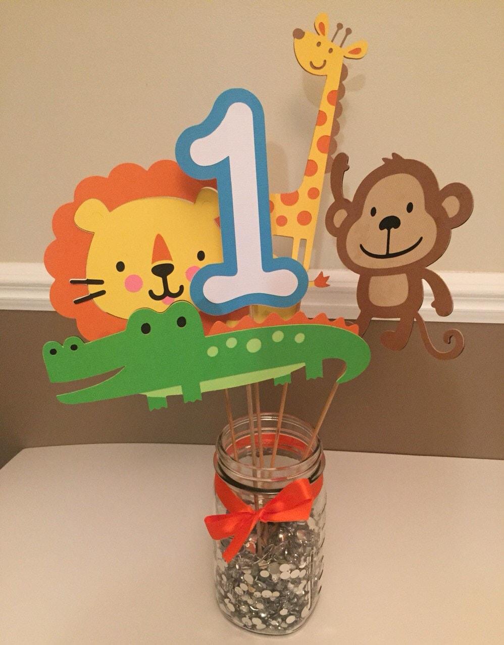 Safari themed centerpiece safari birthday jungle birthday - Deco table jungle ...