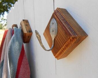 Set of Three Upcycled Spoon Coat / Towel Hooks - Natural