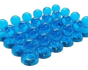 24 Pack - Translucent Large Magnetic Push Pins - High Grade Neodymium Fridge Magnets (Blue) - Rare Earth Refrigerator Magnets