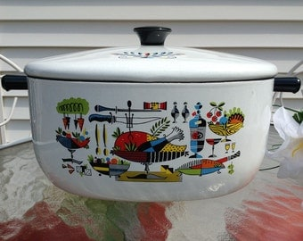 Mid-Century Enamel Lidded Stock Pot~Dutch Oven
