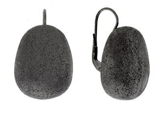 Silver Matte Earrings Black