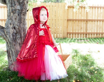 LINED CAPE INCLUDED: Little Red Riding Hood Costume, Red Riding Hood baby girl, Halloween Costume baby girl,  Red Romper, Baby girl Costume