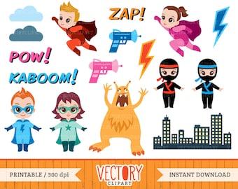 17 Superhero Clipart Set, Hero Clipart, Comic Book Heroes, Superhero Clip Art, Superhero Party, Supergirl, Heroes by Vectory