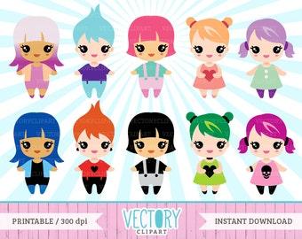 10 Chibi Clipart, Kawaii Clipart Set, Kawaii Chibi Friends,  Chibi Clipart Set, Chibi Clip Art, Chibi Girl, Kawaii Girls by Vectory
