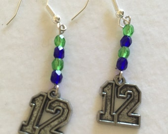 12th man blue and green earrings