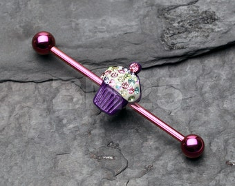 Colorline Cupcake Delight Multi-Gem Industrial Barbell