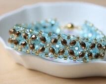 Aqua and Antique Gold Bracelet