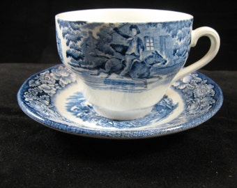 Liberty Blue Cup and Saucer Plate England Staffordshire Old North Church