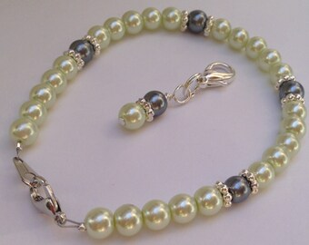 Glass Pearl bracelet, wedding jewelry, weight loss bracelet, Mindfulness, habit bracelet
