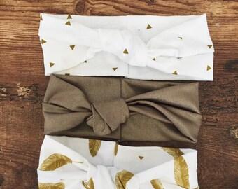 Baby (Child) Headband Set , Gold Headband , Feather headband
