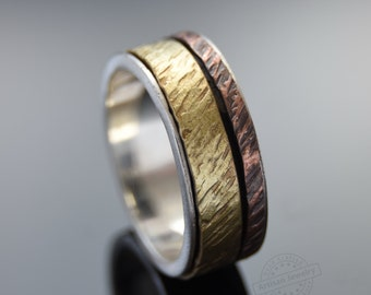 Mixed metals men band, Silver Copper Brass spinners ring, Rustic wedding band, Durable ring for men, Organic wide band, Silver everyday ring