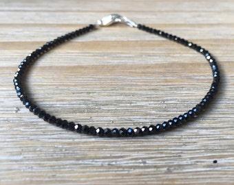 Black Spinel Bracelet, Beaded Black Gemstone Bracelet