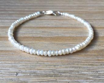 Pearl Bracelet, Tiny Freshwater Pearl Bracelet, Beaded June Birthstone Gemstone Bracelet, Wedding Bridal Jewelry