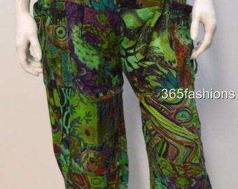 Plus size boho floral swirls patchwork harem pants trouser green