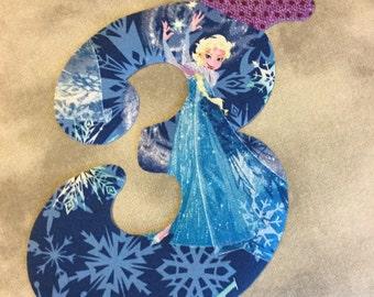 Elsa Frozen Birthday Number DIY Iron On Fabric Applique DIY No Sew
