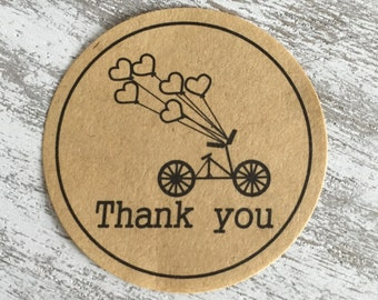 "Sticker round Kraft - ""Thank You"" - LOT of 10"