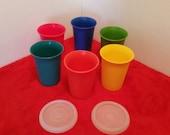 vintage tupperware cup set/ set of 6/ children's cup set