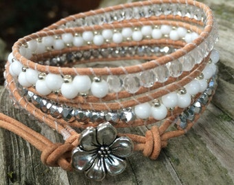 Beaded Leather Wrap Bracelet. Silver, Opaque White and Crystal.